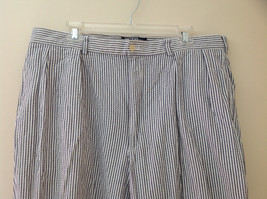 Ralph Lauren Gray White Striped 4 Pocket Pants Zip Button Closure Size 38 x 30 image 2