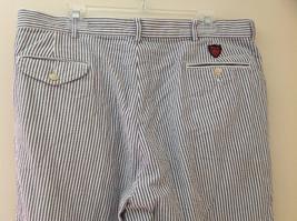 Ralph Lauren Gray White Striped 4 Pocket Pants Zip Button Closure Size 38 x 30 image 7