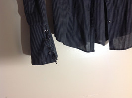 Rave Dark Blue Pin Striped Long Sleeve Button Up Collared Shirt image 2