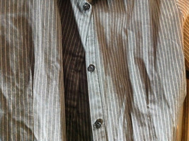 Rave Dark Blue Pin Striped Long Sleeve Button Up Collared Shirt image 6