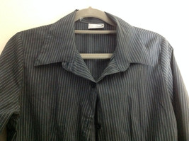 Rave Dark Blue Pin Striped Long Sleeve Button Up Collared Shirt image 3