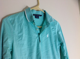 Ralph Lauren Golf Teal Mint Long Sleeve Polo Shirt Small Emblem on Chest Size S image 3