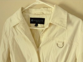 Reaction Kenneth Cole White Trench Coat Belt Buttons Shoulder Pads Size Large image 4