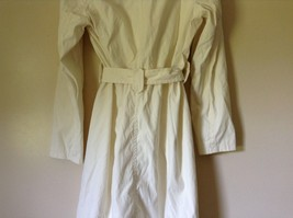 Reaction Kenneth Cole White Trench Coat Belt Buttons Shoulder Pads Size Large image 9