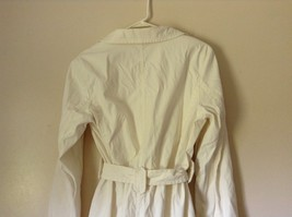 Reaction Kenneth Cole White Trench Coat Belt Buttons Shoulder Pads Size Large image 8