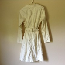 Reaction Kenneth Cole White Trench Coat Belt Buttons Shoulder Pads Size Large image 7