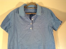 Real Clothes Saks Fifth Avenue Blue Short Sleeve Collar 4 Button Closure Size S image 2