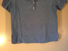 Real Clothes Saks Fifth Avenue Blue Short Sleeve Collar 4 Button Closure Size S image 3