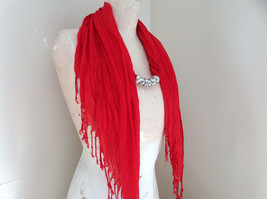 Red Beaded Fashion Scarf Scrunched Look Tassels on Ends Beads are Removable image 3