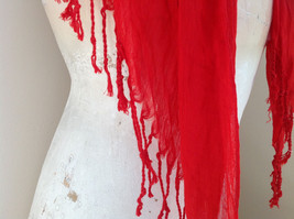 Red Beaded Fashion Scarf Scrunched Look Tassels on Ends Beads are Removable image 5
