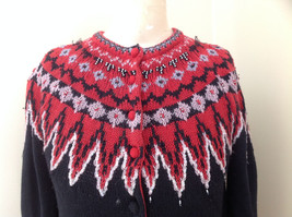 Red Black Bead Decorated Knit Sweater Made in China Lance Earesh Size Medium image 2