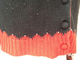 Red Black Bead Decorated Knit Sweater Made in China Lance Earesh Size Medium image 4