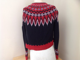 Red Black Bead Decorated Knit Sweater Made in China Lance Earesh Size Medium image 9