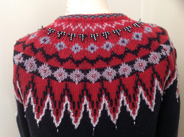 Red Black Bead Decorated Knit Sweater Made in China Lance Earesh Size Medium image 8