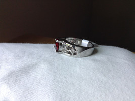 Red CZ Stone with Cutout Design Stainless Steel Ring Size 8.5 image 2