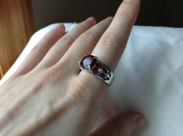 Red CZ Stone with Cutout Design Stainless Steel Ring Size 8.5 image 4