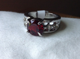 Red CZ Stone with Cutout Design Stainless Steel Ring Size 8.5 image 8