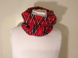 Red Black White Diamond pattern fleece pullover scarf image 2