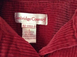 Red Corduroy Button Up Shirt with Buttoned Cuffs Cambridge Country Size Small image 4