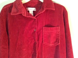 Red Corduroy Button Up Shirt with Buttoned Cuffs Cambridge Country Size Small image 2