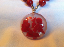 Red Cherry and Chocolate Swirl Beaded Necklace and Large Round Pendant image 2