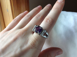 Purple CZ with White CZ Accents Stainless Steel Ring Size 8.5 image 4