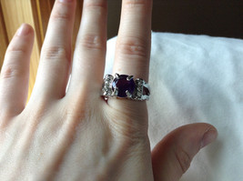 Purple CZ with White CZ Accents Stainless Steel Ring Size 8.5 image 5