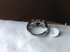 Purple CZ with White CZ Accents Stainless Steel Ring Size 8.5 image 3