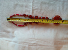 Red Cherry and Chocolate Swirl Beaded Necklace and Large Round Pendant image 6