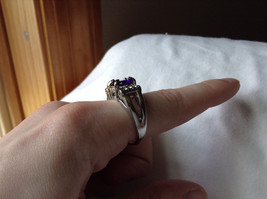 Purple CZ with White CZ Accents Stainless Steel Ring Size 8.5 image 6