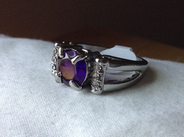 Purple CZ with White CZ Accents Stainless Steel Ring Size 8.5 image 8