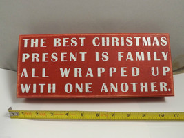 Red Wooden Box Sign The Best Christmas Present is Family Holiday Decor vintage image 2