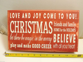 Red Wooden Box Sign Love and Joy Come to You! Holiday Christmas Decor image 2