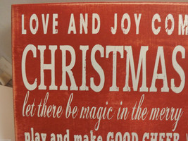 Red Wooden Box Sign Love and Joy Come to You! Holiday Christmas Decor image 5