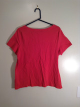 Red Talbots Short Sleeve Cotton Rounded Neckline Top Pattern on Front Size 1X image 4