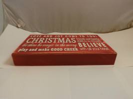 Red Wooden Box Sign Love and Joy Come to You! Holiday Christmas Decor image 3