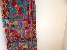 Red Teal Gold Brown Sleeveless Geometric Pattern Long Length Dress WNY Size 8 image 6