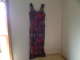 Red Teal Gold Brown Sleeveless Geometric Pattern Long Length Dress WNY Size 8 image 9