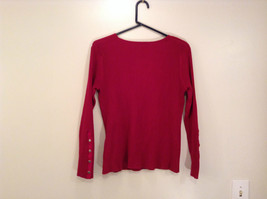 Red Stretchy V Neck Sweater Bandolino Snap Decorations on Sleeves No Size Tag image 2
