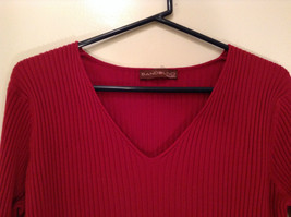 Red Stretchy V Neck Sweater Bandolino Snap Decorations on Sleeves No Size Tag image 3