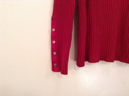 Red Stretchy V Neck Sweater Bandolino Snap Decorations on Sleeves No Size Tag image 4