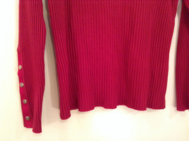 Red Stretchy V Neck Sweater Bandolino Snap Decorations on Sleeves No Size Tag image 5