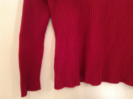 Red Stretchy V Neck Sweater Bandolino Snap Decorations on Sleeves No Size Tag image 7