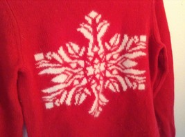Red Turtleneck Sweater 100 Percent Lambs Wool White Design Snowflake Size Small image 2