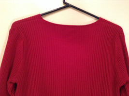 Red Stretchy V Neck Sweater Bandolino Snap Decorations on Sleeves No Size Tag image 6