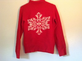 Red Turtleneck Sweater 100 Percent Lambs Wool White Design Snowflake Size Small image 3
