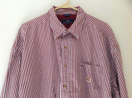 Red White Striped Button Up Front Pocket Shirt Woods and Woods Size XXL image 2
