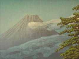 Reproduction Japanese Color Woodblock Print 1930 Mt. Fuji from Tagonoura Bridge image 2