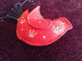 Red Dove Shaped Felt Ornament Black Metal Wires Representing Feathers image 2