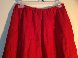 Red Elastic Waist Haldor A Line Style Skirt Made in USA Size M to L image 3